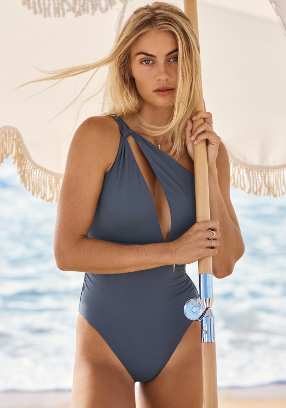 Seafolly One Shoulder Swimsuit Granite