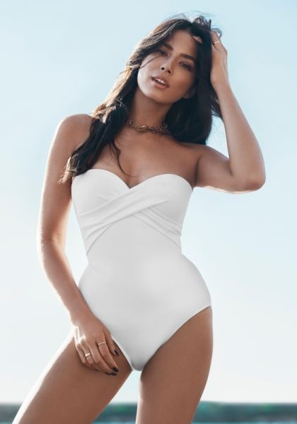 b5b7bc2ea84 JETS by Jessika Allen | White Bandeau Swimsuit | Beach Cafe UK