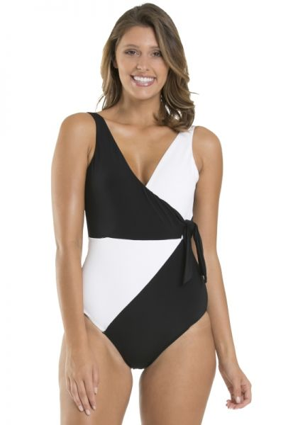 e5981218e4676 JETS by Jessika Allen | Black/White Wrap Swimsuit | Beach Cafe UK