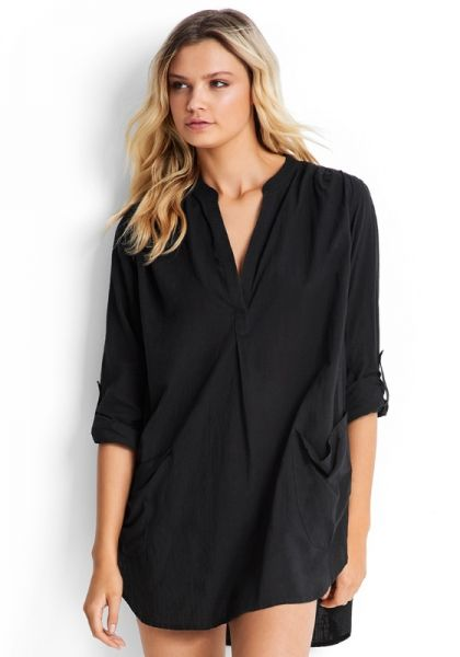 603fac305f Seafolly | Boyfriend Beach Shirt Black | Beach Cafe UK