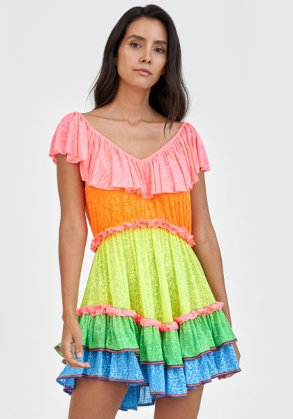 Rainbow Ruffle Mini Dress