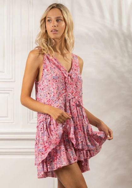 Poupette St Barth Mae Mini Dress Pink Malva