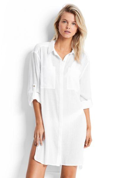 Seafolly Crinkle Twill Beach Shirt
