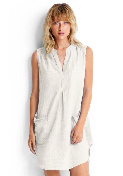 Seafolly Sleeveless Beach Shirt White