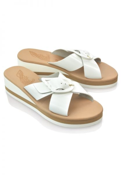 Ancient Greek Sandals White Thais Rainbow Sandals