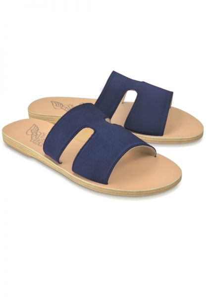 Ancient Greek Sandals Apteros Sandals Navy Satin