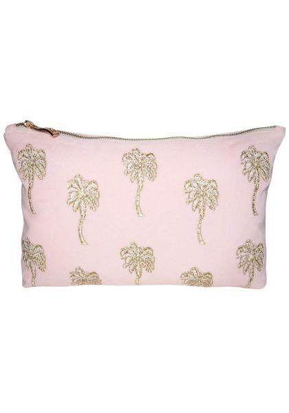 Palmier Velvet Pouch Pink