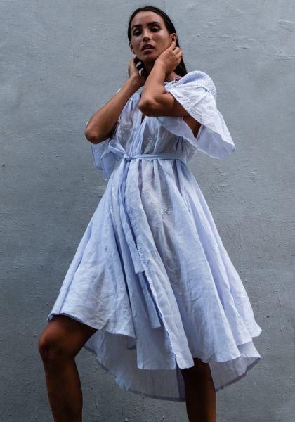 Midi Smock Dress Lilac Blue