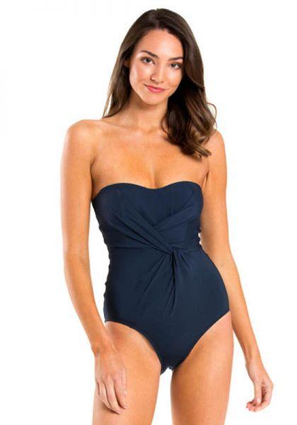 Drape Front Bandeau Swimsuit