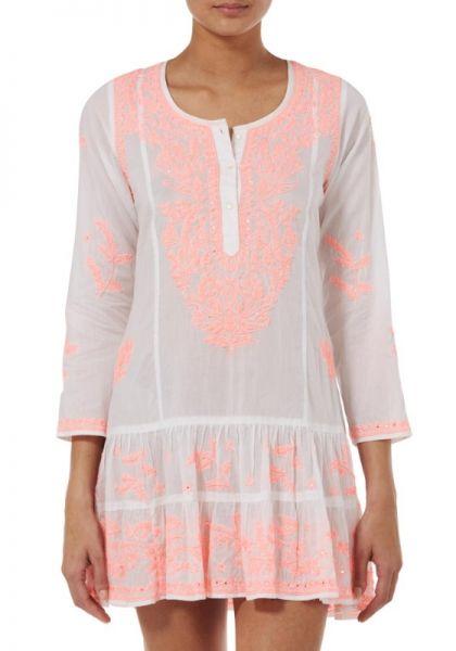 Juliet Dunn Coral Embroidered Dress