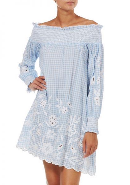 Juliet Dunn Gingham Off Shoulder Dress
