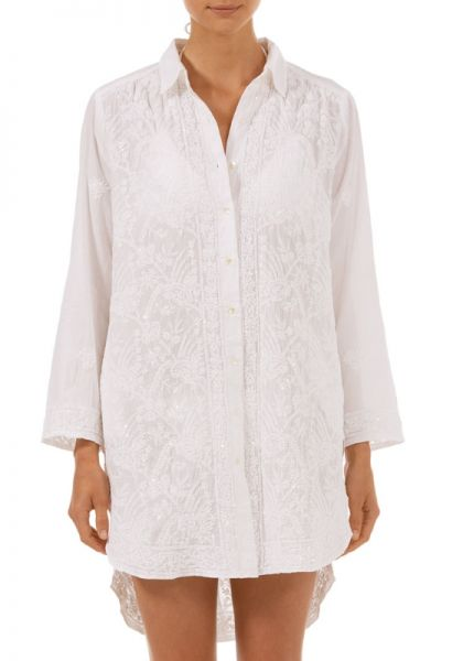 Juliet Dunn Sequin Embroidered Shirt