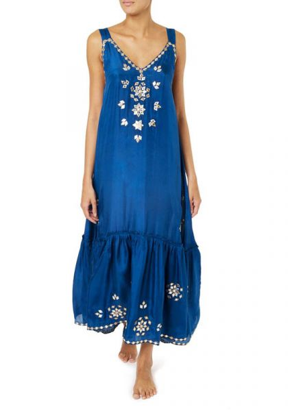 Juliet Dunn Silk V Maxi Dress
