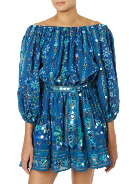 Juliet Dunn Tribal Boho Dress Blue