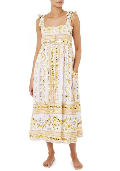 Tribal Tie Shoulder Midi Dress