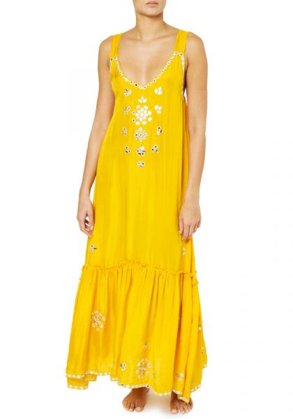 Juliet Dunn Silk V Maxi Dress Saffron
