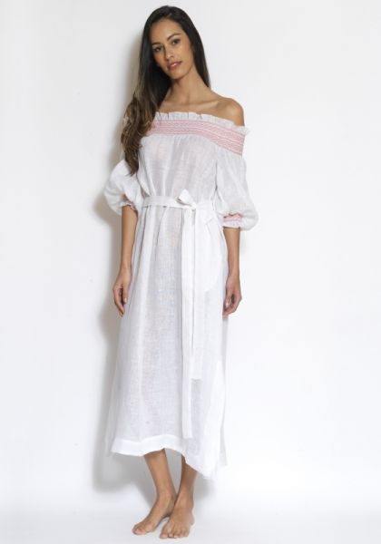 Lisa Marie Fernandez Smocked Off Shoulder Dress