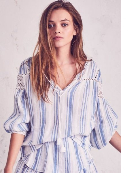 Loveshackfancy Prairie Peasant Top Blue Stripe