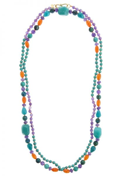 Turquoise & Purple Agate Beaded Necklace