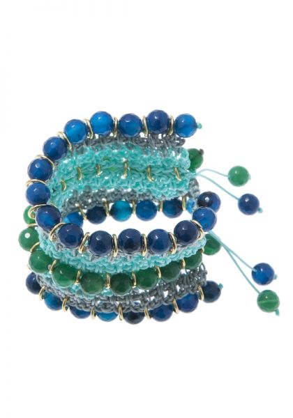 Green & Blue Agate Crochet Bracelet