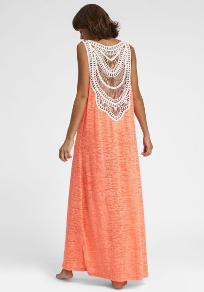 Pitusa Crochet Maxi Dress Coral