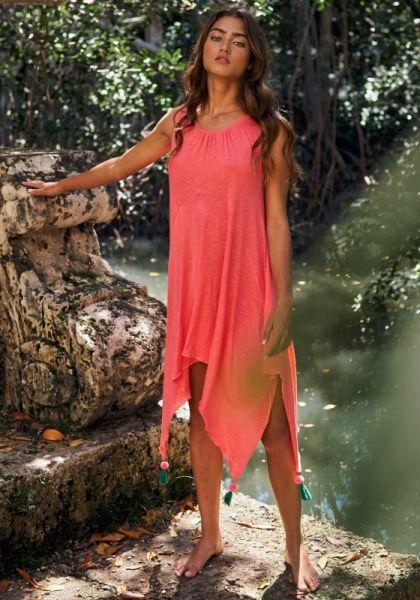 Tassel Tank Dress Coral