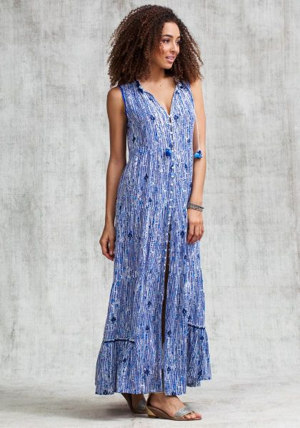 Poupette St Barth Long Clara Dress Blue Fanciful