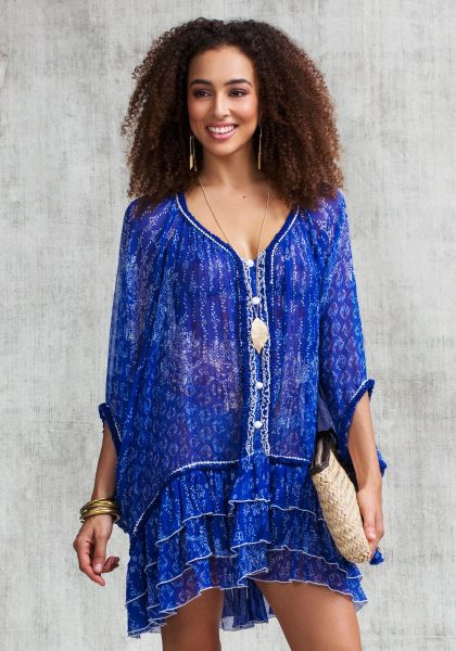 Poupette St Barth Bety Poncho Blue Butterfly