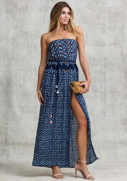 Strapless Mara Maxi Dress Navy Geo