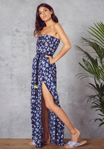 Poupette St Barth Strapless Mara Maxi Dress Blue Freesia