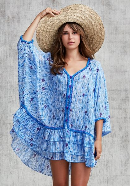 Ruffled Poncho Light Blue Fanciful