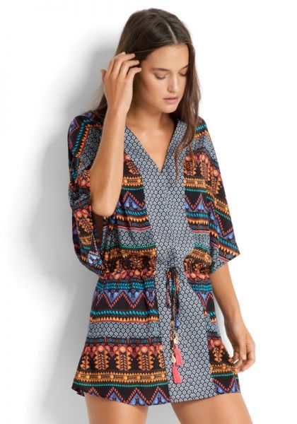 Seafolly Black Bead Folk Coverup