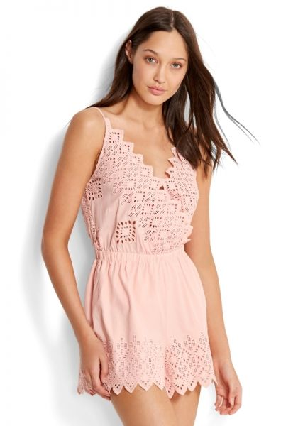 Seafolly Broderie Playsuit Pink