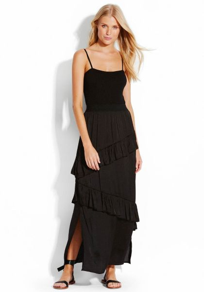 SeaFolly Fluid Ruffled Satin Skirt