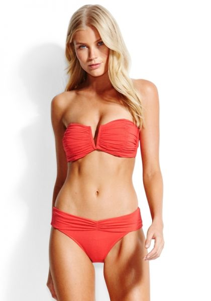 Seafolly Ruched Bandeau Bikini Chilli