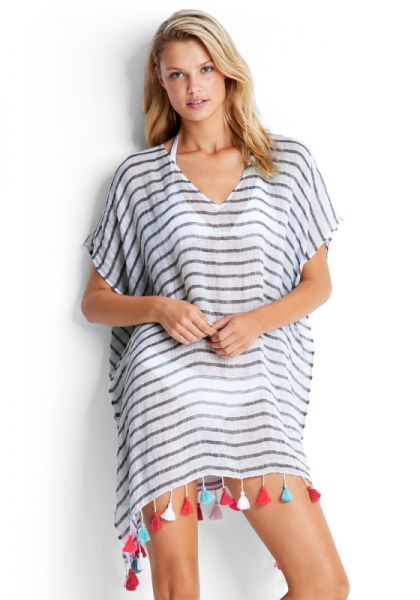 Seafolly Stripe Kaftan Black