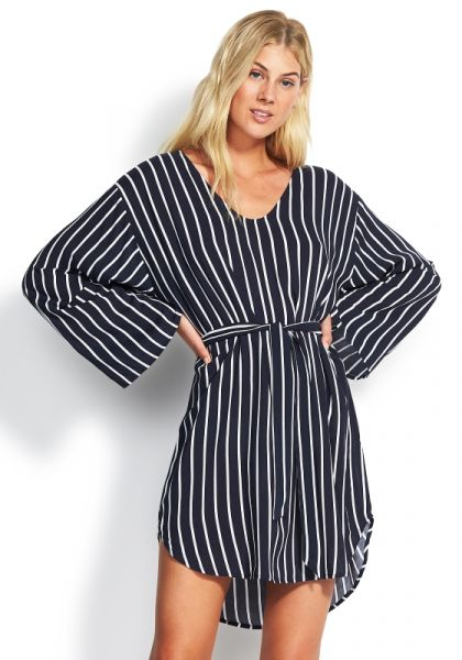 Seafolly Stripe Long Sleeve Cover Up