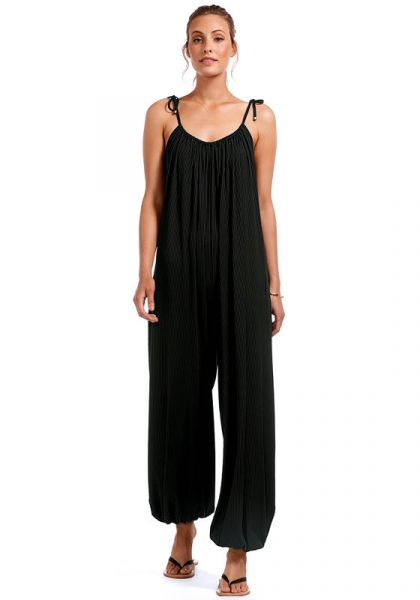 Balloon Rib Jumpsuit Black