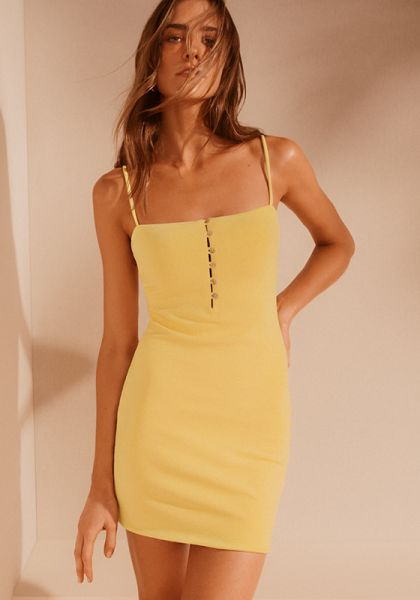 Vix Swimwear Solid Button Down Dress Yellow