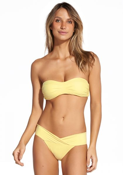 Vix Swimwear Solid Pleats Bandeau Bikini Yellow