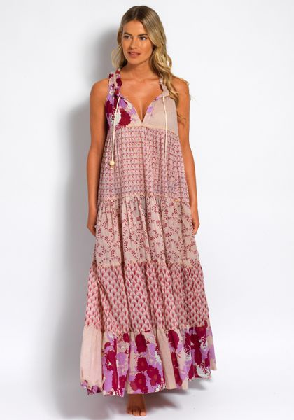 Yvonne S Sleeveless Hippy Maxi Dress Flesh