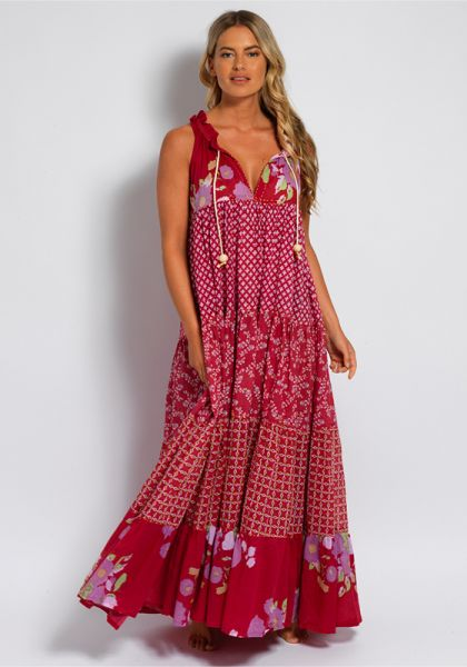 Sleeveless Hippy Maxi Dress Rasberry