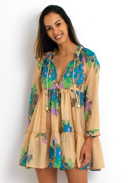 Yvonne S Hippy Mini Dress Green