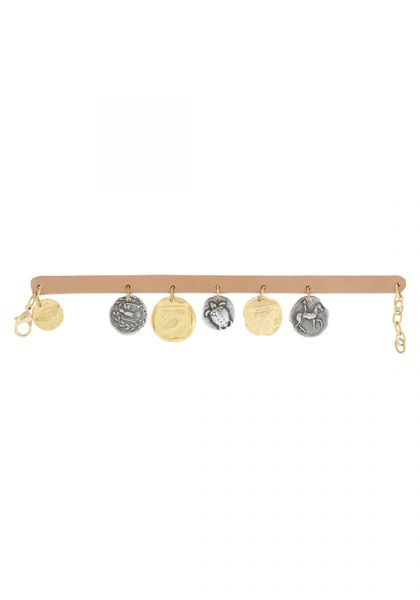 Leather & Coins Chain