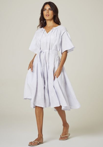 Innika Choo Midi Smock Dress Lilac Blue
