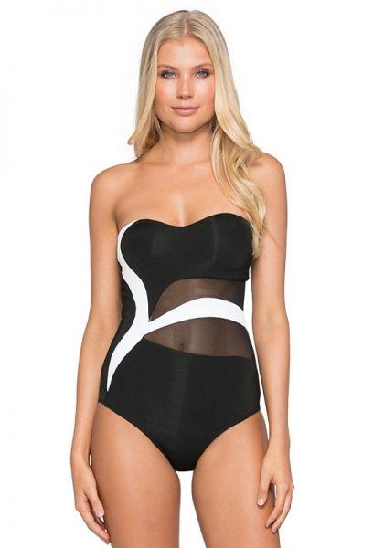 JETS by Jessika Allen Classique Asymmetric Bandeau Swimsuit