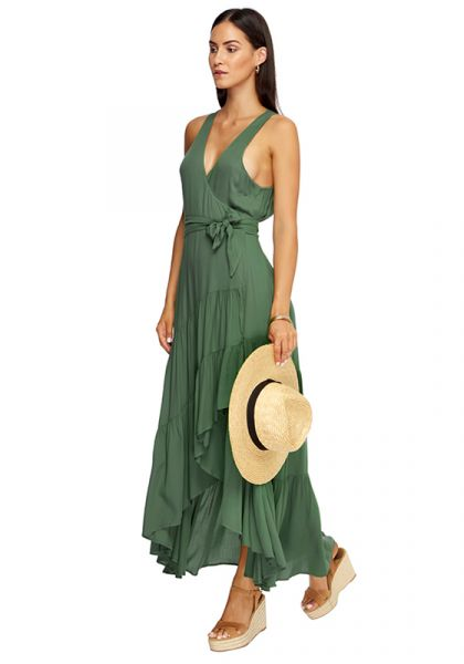 e2661276785 JETS by Jessika Allen | Atacama Multi Tie Dress Moss | Beach Cafe UK
