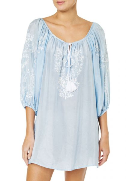 Juliet Dunn Boho Blouse Pale Blue