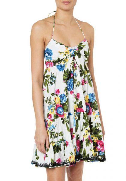 Juliet Dunn Tie Front Dress Floral Print