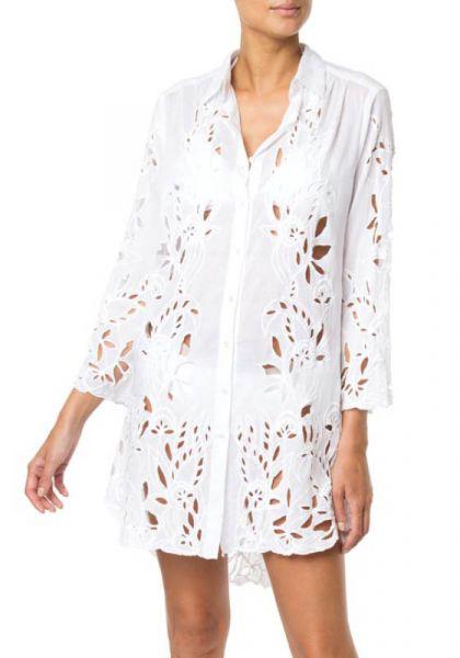 Juliet Dunn Flower Embroidered Shirt